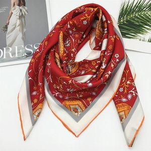 NEW style size 90CM - 90CM 100%silk material print letter flora pattern red fashion square silk scarf for women