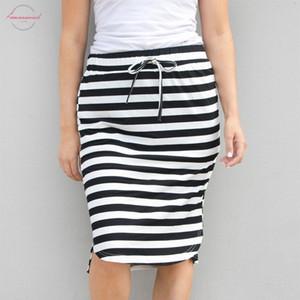 Mulheres Saia Summer Fashion Hetero Stripe Hight cintura joelho comprimento da saia Tutu diário Casual F8 2020
