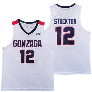 2020 New Gonzaga Bulldogs College Basketball Jersey NCAA 12 John Stockton White All Stitched and Embroidery Men Youth Size
