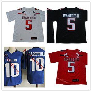 NCAA TTU Kırmızı Raiders 5. Patrick Mahomes II Texas Tech Red Raiders Jersey Dikişli Kraliyet 10. Jimmy Garoppolo Eastern Illinois Panterler Jersey