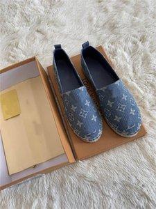 20SS nouveaux mocassins paille tressée chaussures de plage de femmes des hommes denim lettres chaussures imprimé pêcheur à fond plat chaussures design de luxe blu