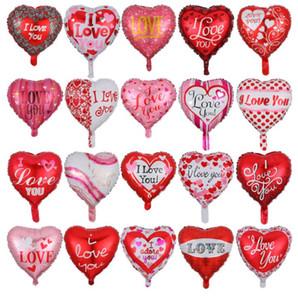 18 Inch Foil Balloon Heart-shaped do dia dos namorados Ballons Eu te amo balões festivos do partido Decoração Alumínio Film balão GGA3177-2