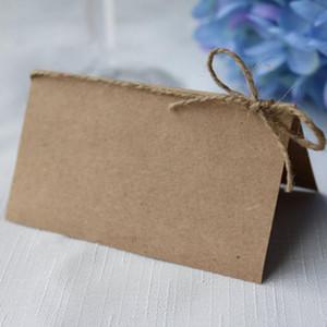 250pcs Blank Kraft Paper Место Название карты Деревенское Именная карточка с бечевкой Bow