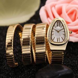 2018 ultimo diamante del serpente di modo orologio in acciaio femminile quarzo guardare West movimento tiecheng cinturino in acciaio inox