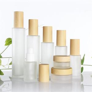 Vidrio esmerilado Tarro Crema Botella con tapa de madera imitada loción Bomba de pulverización de botella portátil Jar envase cosmético 30ml 40ml 50ml 60ml 80ml