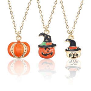 Halloween Jewelry Gift Lovely Cartoon Enamel Metal Pumpkin Pendant Necklace Women Gothic Tiny Cat Star Hat Pumpkin Head Necklaces