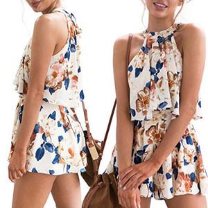 Fasion delle donne di vacanze Stampa Mini Playsuit signore increspature tuta pagliaccetto Summer Beach Shorts Sundress