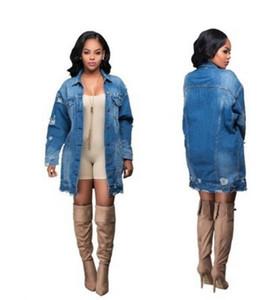 봄 여성의 데님 재킷 코트 유럽과 미국 여자 데님 코트 구멍 빈티지 여성 Outerwea 20200206-01