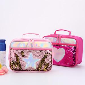 Mode Sequin Kind-Mittagessen-Beutel-Aluminiumfolie Thermal Insulated Lunch Bag beweglicher im Freien Picknick-Lunch Box Food Storage Tote Box VT0809