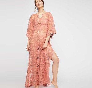 nouvelle mode femme Vêtements pour femmes 2019 printemps Robe en dentelle Manches moyennes jupe à col en V perspective évasion robes Longuette