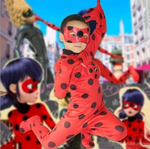 Hot Ladybug Big Girl Clothes Ready Cartoon Costumes Dress Up Halloween Cosplay Children Wig Stage Role Pockets Eye Mask