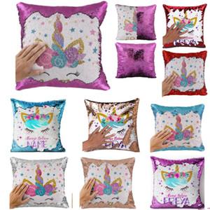 Reversible unicornio lentejuelas caja de la almohadilla de la sirena cubierta de almohadas Throw Cushion Caso decorativo almohada 9 estilos HH9-2360