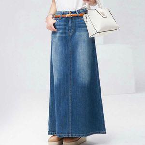 2020 dril de algodón largo de la falda de la vendimia Botón de cintura alta una línea azul delgada de las mujeres lavada Faldas señoras de la oficina Sexy Jeans Faldas