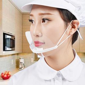 en stock de masque en plastique transparent pour la peau ouverte Sanitaire Soins alimentaire Maquillage Anti-Truck Répandre travail Partie ménage visage Masques