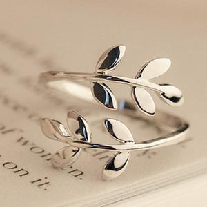 Olive Tree Branch Листья Открытое кольцо для женщин девушки Обручальные кольца Подвески Листовые кольца Регулируемое костяшки пальцев ювелирных изделий Xmas Дешевые 20PCS