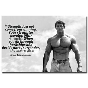 NICOLESHENTING Arnold Schwarzenegger Vücut Motivasyon Alıntı İpek poster 12x18 24x36inch İlham Duvar Resmi 05