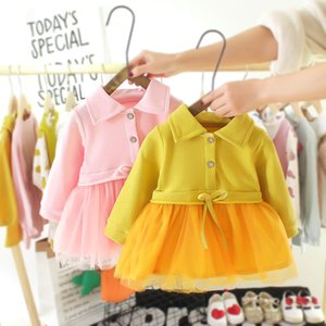 Baby Girls Dress Spring New 2020 Little Girl Panel Mesh Skirt Baby Girls Western Style Cotton Princess Dress