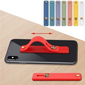 Candy Cor Dedo Anel de Dedo Suporte de Banda de Mão de Silicone para iPhone Pulseira Strap Push Pull Puxe Suporte Suporte Atacado