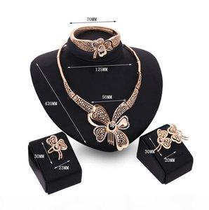 Online per la vendita della farfalla della cavità insiemi dei monili bianchi pietra preziosa collana braccialetto orecchini anelli gioielli in oro 18 carati famiglia di quattro GTOMKS042