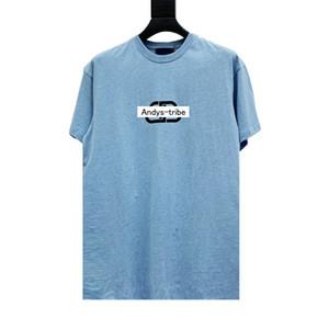 Camisetas Colección Europea Andys Tee impresión de la letra del logotipo del algodón de la manga corta de las parejas Hombres Mujeres de HFXHTX248
