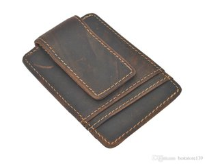 New arrival High quality leather magic wallets fashion designer men dark brown money clip Simple Design Magnet Crazy Horse Leather Wallet