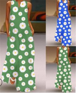 V Neck femmes longueur cheville Casual Robe Femmes Contraste couleur imprimé floral robes sans manches Taille Plus Mode