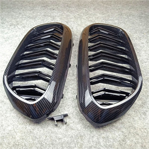 Пара G30 G38 Carbon Look Double Slat Car Grille для Bmw 5 Series 2018-IN ABS глянцевый черный / M цвет замена передней решетки