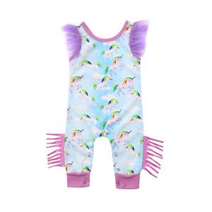 Yeni Yaz Bebekler Kız Süper Sevimli Peri Püsküller Dantel Karikatür Pring Rompers Bebek Kız Kolsuz Romper Mesh Giyim Joli Fille