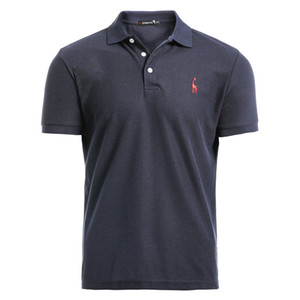 Новый человек Рубашка Mens вскользь Deer вышивки хлопка рубашки мужчин с коротким рукавом высокого Количество Мужчины Polos