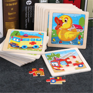 Simple Wooden Puzzle Jigsaw Cartoon Animal Vehicle Wood Toy for Kids Baby Early Puzzle early Educational Learning Toys Gift 20 color