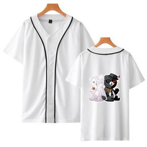 Danganronpa Monokuma 야구 T 셔츠 남여 짧은 소매 스트리트 힙합 야구 블랙 화이트 베어 야구 유니폼 코스프레 탑
