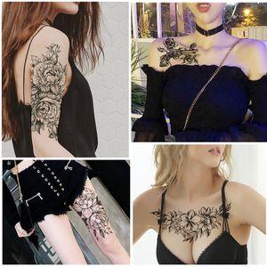 Малый Полный цветок Arm Temporary Водонепроницаемый татуировки наклейки Deer Cat Сова для женщин Мужчины Body Art