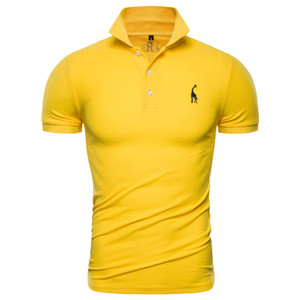 Freeshipping 2019 New Polo Shirt Men Solid Casual Cotton Polo Giraffe Men Slim Fit Embroidery Short Sleeve Men's Polo 10 Colors