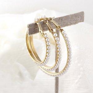 New Pearl Hoop Earrings Exaggerates Oversize Pearl for Women Big Circle Ear Rings Earrings Fashion Europe Nightclub Jewelry