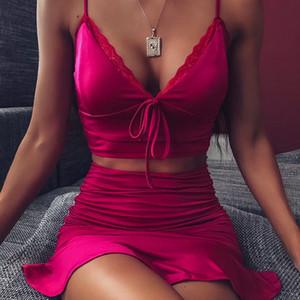 Sommer-Frauen zweiteiliges Kleid Sexy Spaghetti-Bügel-Lace-up Backless Zweiteilige Sets neue Art-Frauen Kleidung
