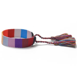 Fashion Fabric bracelet, women woven friendship bracelets, summer camping washable Bracelet with tassels and adjustable sizes