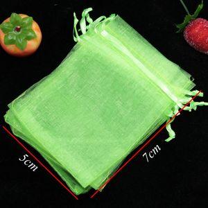 Freies Verschiffen, hellgrüne Farbe Schmuck Verpackung Drawable Organza Beutel 5x7cm, Hochzeit Geschenk-Beutel-Beutel, 200pcs / lot
