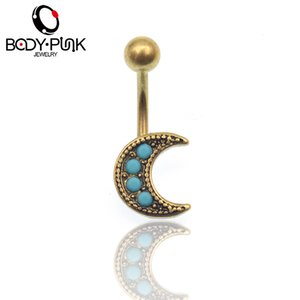 BODY PUNK New Belly Button Rings Stainless Steel Barbell Dangle Gold Moon Navel Piercing Jewelry NR 039