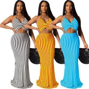 Moins de 35 $ African Women Style de Robe Sexy Summer Casual S-2XL noir sirène Stripes Robe de cocktail plage Jupes longues 2020