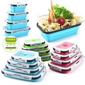 4 مقاس Silicone قابل للطي علبة طعام الغداء حاوية Bento مجانا Portable Microwavable Portal Teaming Retangle Outdor Box