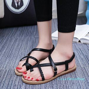 Sexy2019 Fasciola Rome Chaussures plates Toe Bas Sandales Chaussures Femme
