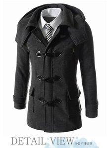 Invierno de alta calidad de los hombres de botón abrigos de lana Horn informal sobretodo de la manera capa de las lanas de los hombres de la chaqueta rompevientos chaquetón para el hombre