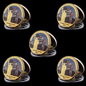 5pcs Gold Coin americano 45º presidente Donald Trump Coin US Casa Branca Estátua da Liberdade metal coleção de moeda