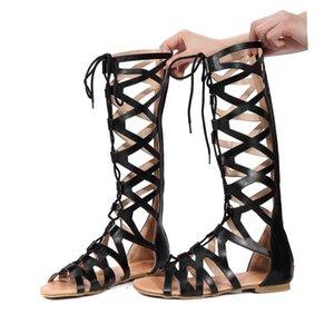 المرأة الصيف الصنادل السيدات أحذية عالية عارضة شقق الركبة أحذية أحذية عالية روما بوهو 2019 صنادل الصيف للنساء