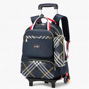Les enfants de chariot étanche Garçons Filles sac d'école Roues sac Voyage enfants sac à dos bagages à roulettes amovibles Y200706 cartables