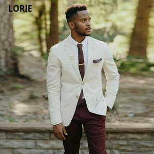LORIE Ivory Men Suits Burgundy Pants Groom Tuxedo 2 Pieces Notched Lapel Terno Masculino Slim Fit Man Attire Groomsmen Blaze