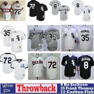 Para mujer para hombre Niños Jóvenes de punto jersey de 8 Bo Jackson 35 Frank Thomas 72 Carlton Fisk retroceso jerseys de béisbol