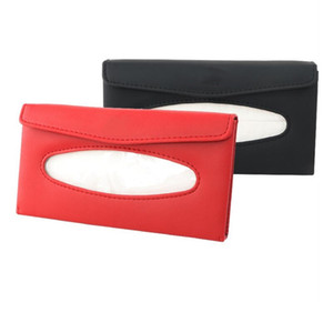 FIRECLUB Car Sun Visor PU Leather Holder Hanging Pumping Napkin Container Universal Hanging Type Tissue Box Case