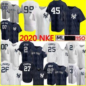 2020 99 Aaron personnalisé Juge 2 Derek Jeter 45 Gerrit Cole Jersey 25 Gleyber Torres Don Mattingly Babe Ruth Mariano Rivera Giancarlo Stanton
