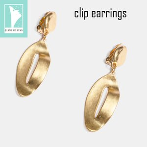 2019 Vintage clip earrings without piercing for women no hole gold Irregular geometry clip earrings